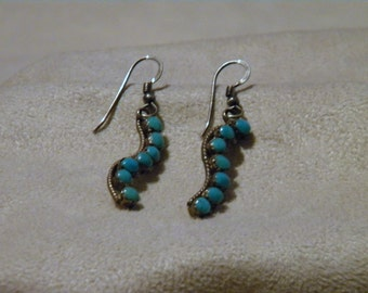 Sterling Silver Vintage Turquoise Dangle Earrings