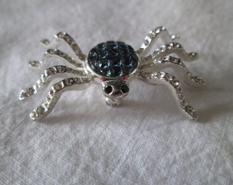 Stunning Silver Tone and Rhinestone Spider Pin Brooch Carolee Brand