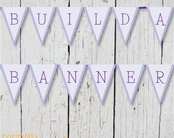 DIY Custom Banner - Lavender Swiss Dots - Printable A-Z, 0-9 5x7""