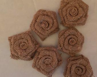 2'' Burlap Rosettes, Burlap Flowers, Small Burlap Flowers, 2'' Burlap Flowers, Burlap flower rosettes 1 PIECE NOT 6