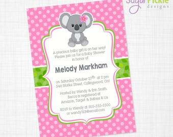 Koala Baby Shower Invitation, Koala Invitation, Pink Invitation, Shower Invitation, DIGITAL FILE