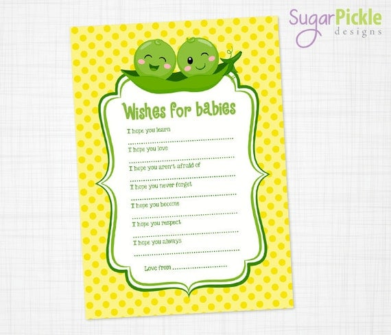 Twins Wishes For Baby Cards Baby Shower Printable Twins Baby