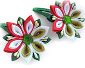 Red, white, green fabric  flowers hair clip. Set of 2 hair clips for girl. Children Accessories. Christmas  Hair Clips, Holiday hair clip