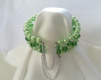 Two tone green cuff bracelet