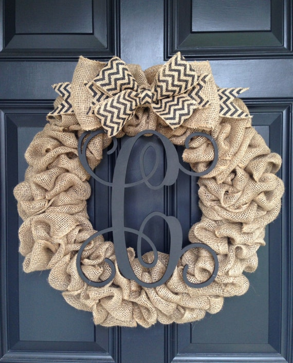 Burlap Wreath With Chevron Bow And Vine Monogram