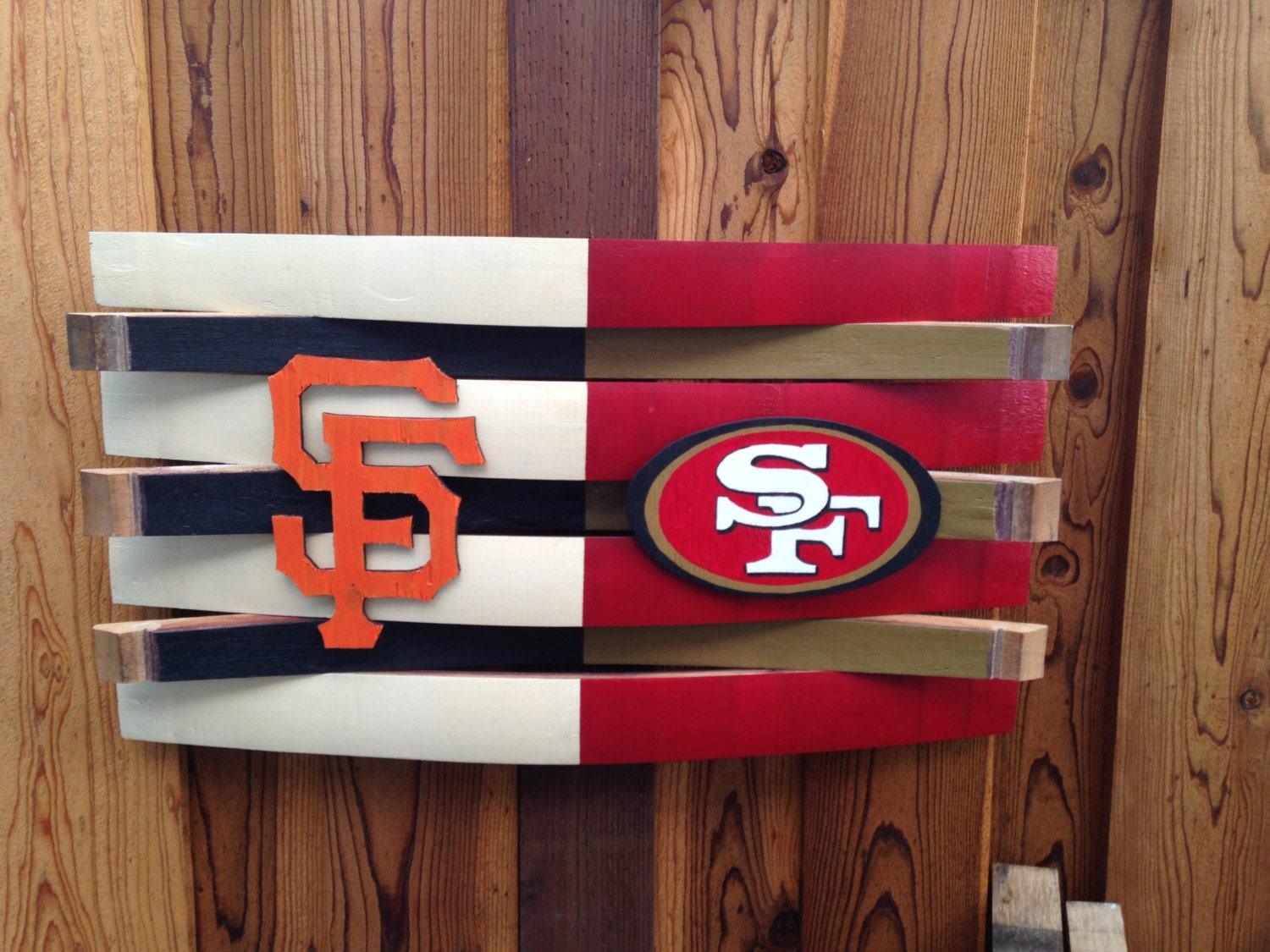 Diy Wall Art For Man Cave : Giants and ers football wall decor rustic wooden by