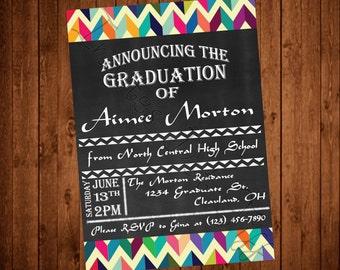 Middle Eastern Inspired Chalkboard Graduation Invitation (Printable)