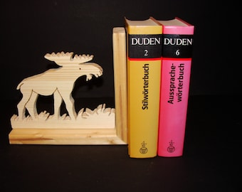 Wooden book-stand with moose (Alces alces)