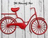 Bicycle wall art // metal bicycle art // red bicycle // cycling wall art // bicycle art // girls bicycle // bike wall art