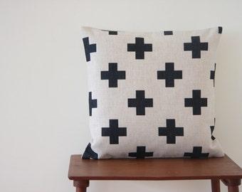 """22"""" x 22"""" Pillow Cover Black Cross Scandinavian Minimalist Swiss Cross Cushion Cover Throw Cushion Cover"""