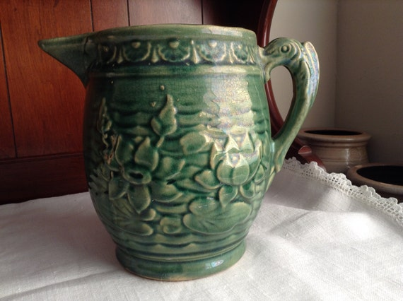 Vintage Mccoy Pitcher Water Lilly Design With Fish By