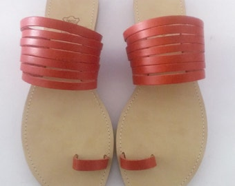 Handmade coral red stripe cowhide leather sandals comfortable summer sandals