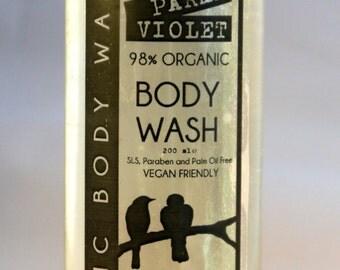 Parma Violet Organic Body Wash 200ml Vegan No SLS, Parabens or Palm Oil