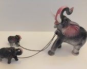 1950's Elephant family ceramic figurine from Japan dark gray with pink ears
