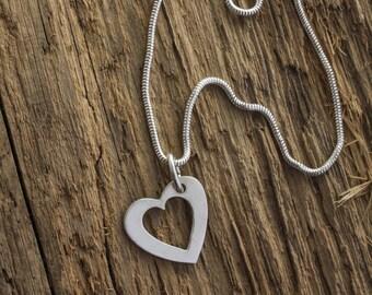 Silver Heart Pendant - Silver Heart Necklace - Silver Heart Charm - Heart Charm Necklace - Heart Charm Pendant - Silhouette Heart Charm