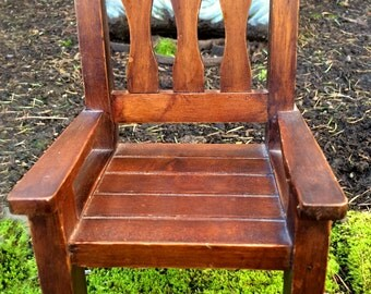Dark Slated Wood Doll Chair
