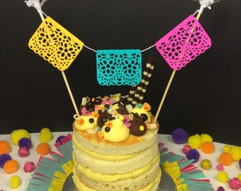 Papel Picado Cake Topper, Mexican Fiesta Decoration, Cinco de Mayo, Fiesta Wedding Cake Bunting