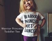 Warrior Princess Poet Dancer Toddler/Kid Tee, Scripture Art, Black and White,