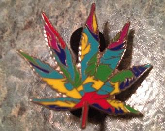 Tye Dye Pot Leaf Hat Pin Lapel Pin