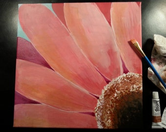 Acrylic Painting of a Gerber Daisy Flower
