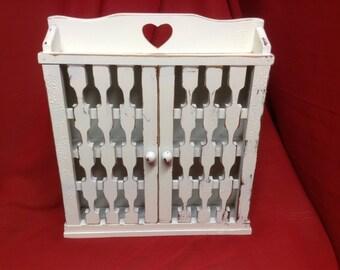 40- Storage Cabinet- Wood - Kitchen - Bathroom -Home Decor -Heirloom White - Distressed