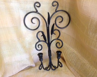 41- Wall Sconce - Candle Holder - Metal -Wall Hanging - Home Decor -Black -Distressed