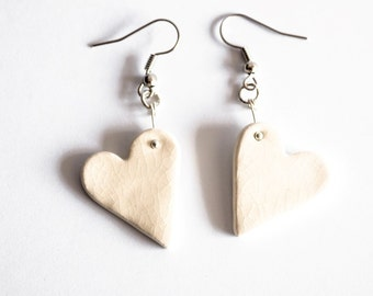 White Heart Porcelain Earrings - Clay - Porcelain Jewellery - Ceramics and Pottery