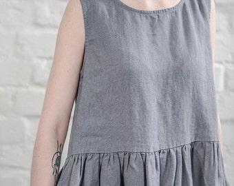 Linen dress. Dark grey/graphite  linen loose dress