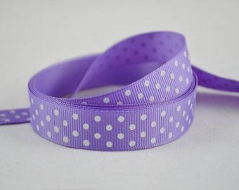 "5/8"" (15mm) Purple with White Polka Dot Grosgrain Ribbon"