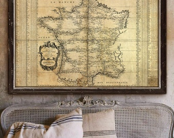 "Map of France 1744, Historical French map, 4 sizes up to 54x36"" (140x90 cm) First triangulation map of France - Limited Edition of 100"