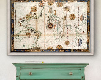 "Renaissance World map 1543, Sea map of the World in 5 sizes up to 54x36"" (140x90 cm) Rare historical World map - Limited Edition of 100"