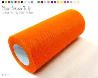 "Orange Plain Nylon Mesh Tulle - 6"" x 25 Yards (75 Feet)"