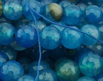 15 Inch Full Strand  Teal  Blue  Dragon Veins  Agate  10MM  Faceted  Round  Bead