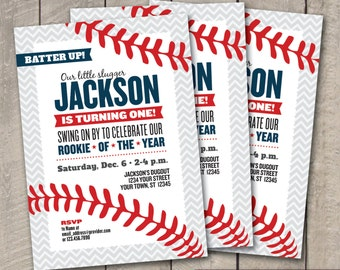 DIY Printable BASEBALL Rookie of the Year Birthday Invitation