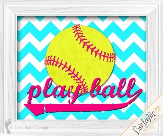 Https Www Etsy Com Listing 189119834 Softball Decor Play Ball Girls Softball