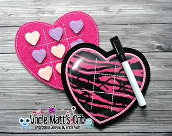 Heart Tic Tac Toe ITH Embroidery Design
