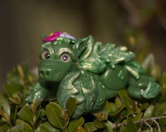 Forest cutesy dragon handmade polymer clay figure OOAK