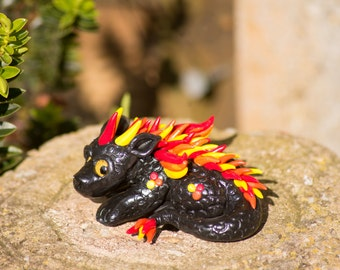 Flame cutesy dragon handmade polymer clay figure OOAK