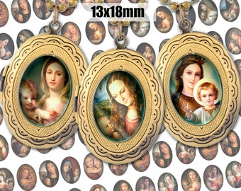 Digital Collage Sheet Madonna Mary and Child 13x18mm Printable Oval Download for pendants magnets Cabochons jewelry