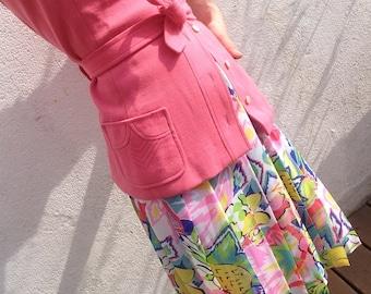 Louis Féraud   Vintage   1980s   Skirt   Flowers/fruits   Pleated   Multicolor   Summer skirt