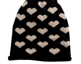 Womens Winter Hat Black Beanie Slouchy Beanie Heart Gifts Love Gifts Heart Beanie Valentines Gift