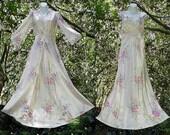 1930s Nightgown Peignoir Set Satin Floor Length Vintage Bias Cut Rare Floral Rayon Museum Quality Long Bridal Wedding Gift S/Small M/Medium