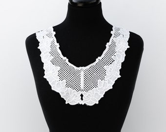 Off White Floral Lace with Netting Embroidered Applique  APP00003