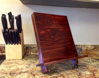 Ipad stand tablet docking station ipad holder wooden cookbook stand