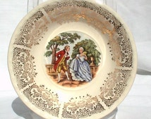 Crooksville China Ohio Cereal Bowls CRO10 Gold Colonial People Couple 1940s Thematie