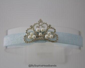 Baby Headband, Princess Tiara Headband, Baby Tiara, Princess Headband, Frozen Headband, Light Blue Crown Headband, Frozen Tiara, 2223