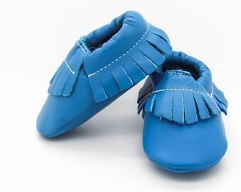 SALE!! Baby Moccasins, Royal Blue Fringe Moccasins, Baby Blue Leather Shoes, Genuine Leather Moccs, Toddler Moccasins, Baby Blue Moccs
