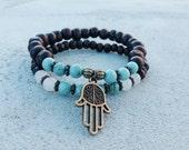 Turquoise and Snow Quartz Hamsa Double Mala Bracelet for Self Love and Meditation. Prayer Beads. Mala Beads . Yoga Jewelry.