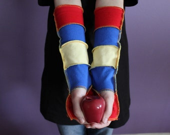 Arm Sleeves - Arm Warmers - Fingerless Gloves - Upcycled - Tshirt - Snow White - DisneyBounding