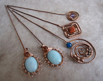 Copper wire wrapped  hair/shawl pins with semi-precious stones.